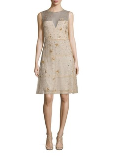 Elie Tahari Maritza Embellished Silk Dress