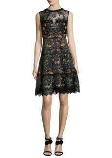 Elie Tahari Maritza Sleeveless Floral-Embroidered Satin Dress