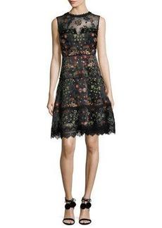 Elie Tahari Maritza Sleeveless Floral-Embroidered Satin Dress