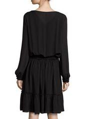 Elie Tahari Marla Tiered Silk Dress w/ Embroidered Yoke