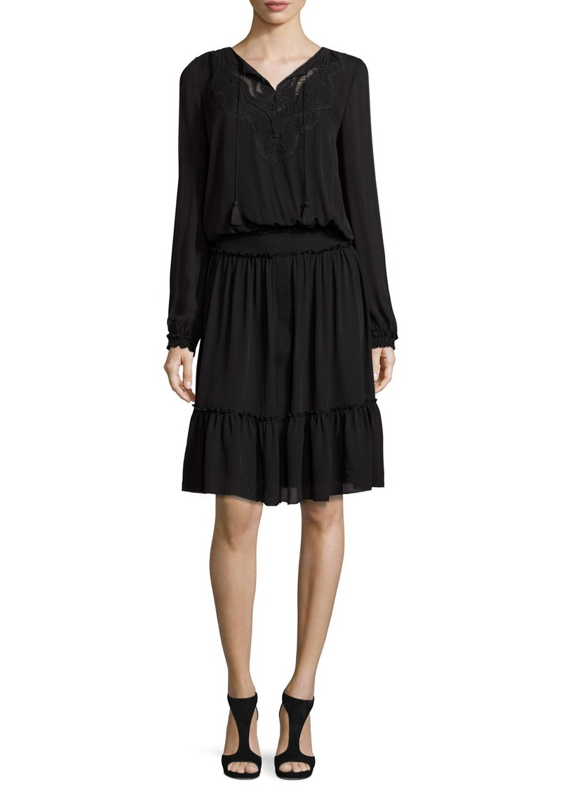 Elie Tahari Marla Tiered Silk Dress w/ Embroidered Yoke