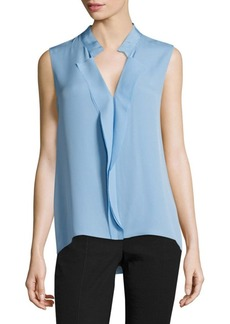 Elie Tahari Marlow Sleeveless Ruffled Silk Blouse