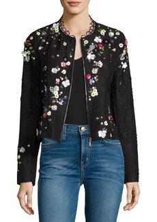 Elie Tahari Marta Cropped Tweed Jacket w/ Mixed-Media Floral Trim