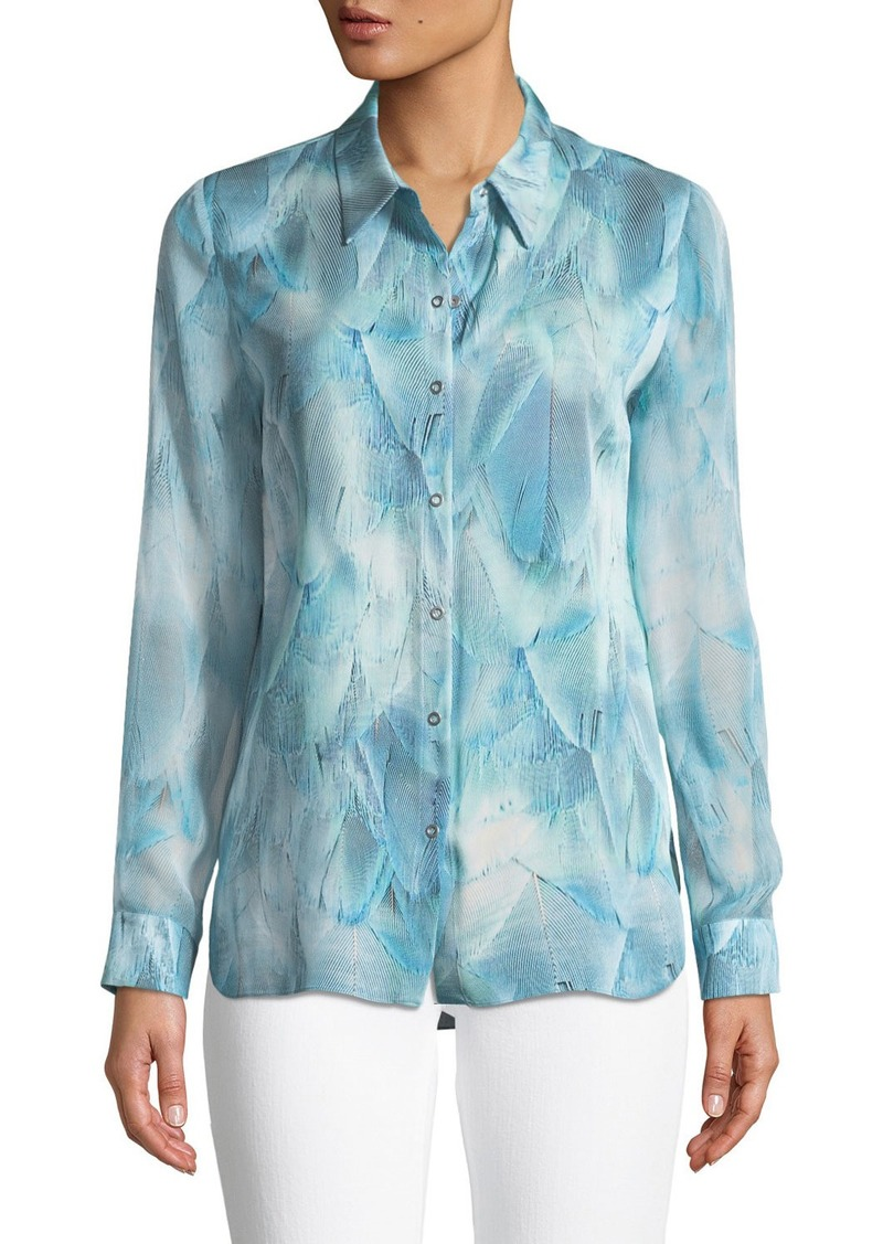 Elie Tahari Martha Feather-Print Silk Blouse