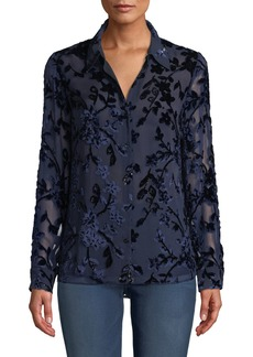Elie Tahari Martha Long-Sleeve Button-Front Floral Devore Velvet Blouse