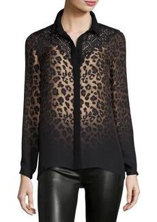 Elie Tahari Mason Long-Sleeve Ombre Leopard-Print Blouse w/ Lace Yoke
