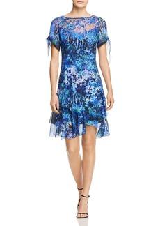 Elie Tahari Maurine Floral Cold-Shoulder Silk Dress
