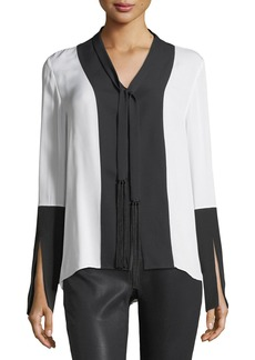 Elie Tahari Mavrick Two-Tone Silk Blouse