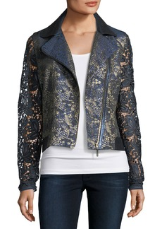 Elie Tahari May Lace Moto Jacket
