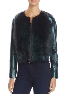 Elie Tahari Maybelle Fox Fur Metallic Leather Jacket