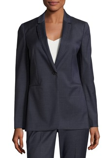 Elie Tahari Maysa Dot-Trim One-Button Blazer Jacket