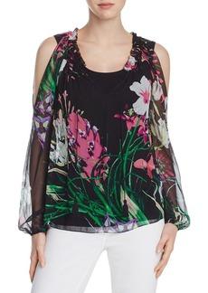 Elie Tahari Mazy Floral Silk Peasant Blouse