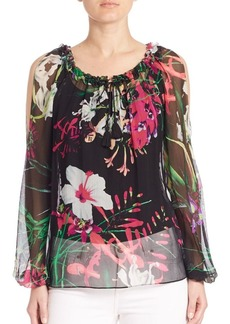 Elie Tahari Mazy Silk Floral-Print Blouse