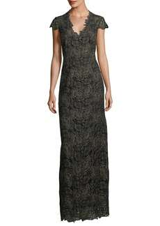 Elie Tahari Meena Metallic Lace Column Gown