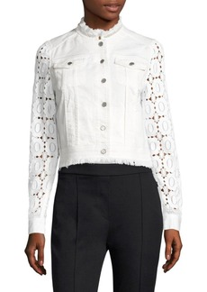 Elie Tahari Meggie Lace & Coated Denim Jacket