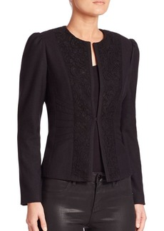 Elie Tahari Melody Lace Panel Jacket