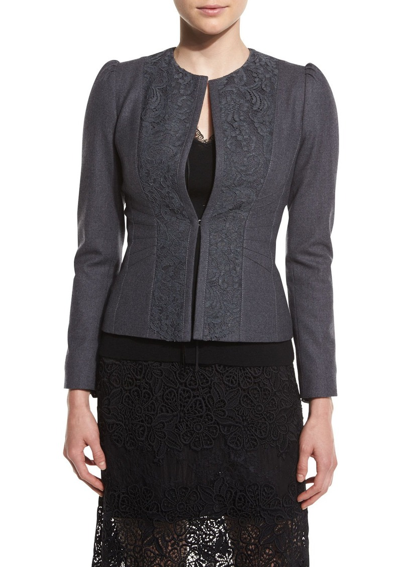 Elie Tahari Melody Lace-Panel Stretch-Knit Jacket