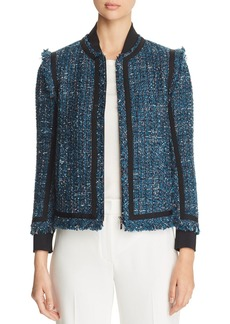Elie Tahari Mennat Metallic Tweed Jacket