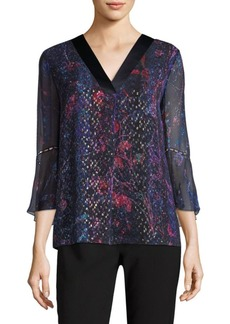 Elie Tahari Metallic Three-Quarter Blouse