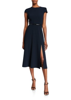 Elie Tahari Miciela Cap-Sleeve Belted Dress with Slit