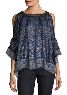 Elie Tahari Mika Cold-Shoulder Floral Silk-Blend Blouse
