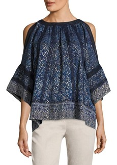 Elie Tahari Mika Floral Cold Shoulder Blouse
