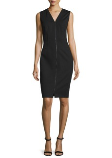 Elie Tahari Mila Zip-Front Sheath Dress
