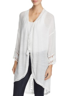 Elie Tahari Miley Lightweight Crochet Trim Jacket