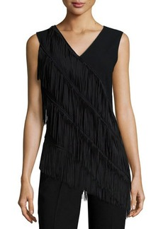 Elie Tahari Millie Sleeveless Fringe Trim Shell