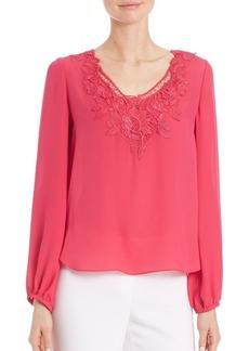 Elie Tahari Mina Floral Lace Silk Top