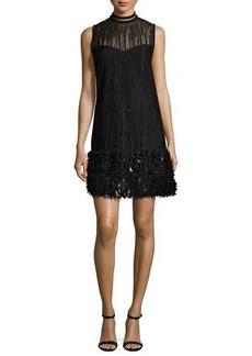 Elie Tahari Mirage Beaded Georgette Cocktail Dress