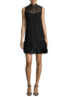 Elie Tahari Mirage Beaded Georgette Cocktail Dress