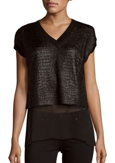 Elie Tahari Mixed Media Blouse