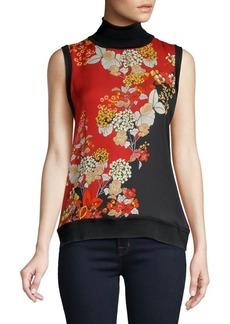 Elie Tahari Mockneck Floral Silk Blouse