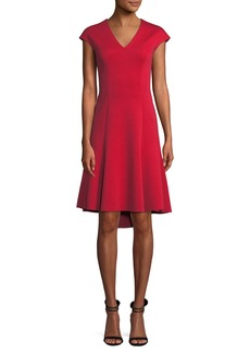 Elie Tahari Moriah Knit Cap-Sleeve V-Neck A-Line Dress