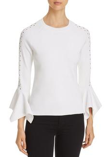 Elie Tahari Naaz Perforated Bell-Sleeve Sweater