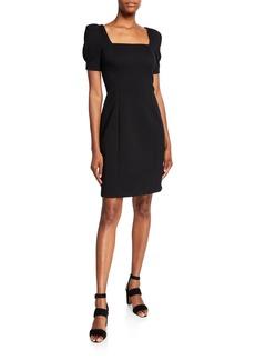 Elie Tahari Nacia Square-Neck Short-Sleeve Sheath Dress