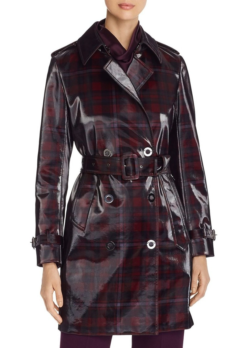 Elie Tahari Natania Glossy Plaid Trench Coat