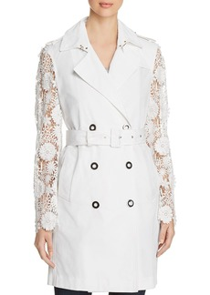 Elie Tahari Natania Lace-Sleeve Trench Coat - 100% Exclusive