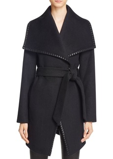 Elie Tahari Natasha Leather Trim Wrap Coat