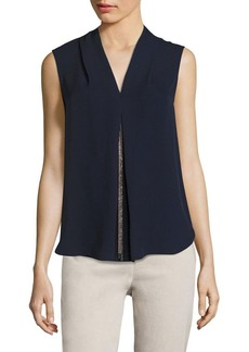 Elie Tahari Nia Chain Detail Silk Blouse
