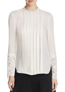 Elie Tahari Nicola Lace Trim Pleated Silk Blouse