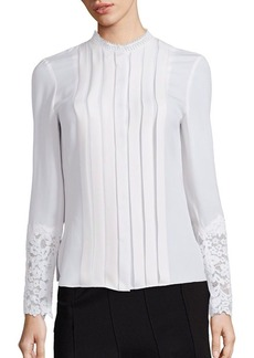 Elie Tahari Nicola Silk & Lace Pleated Blouse