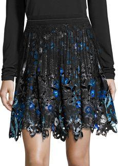 Elie Tahari Nicolette Cutout Floral Skirt