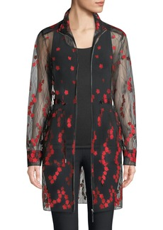 Elie Tahari Nicolette Embroidered Sheer Zip-Front Coat
