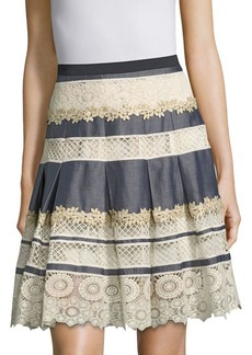 Elie Tahari Nicolette Lace Inset Pleated Skirt