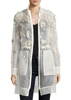 Elie Tahari Nicolette Sheer Silk Trench Coat