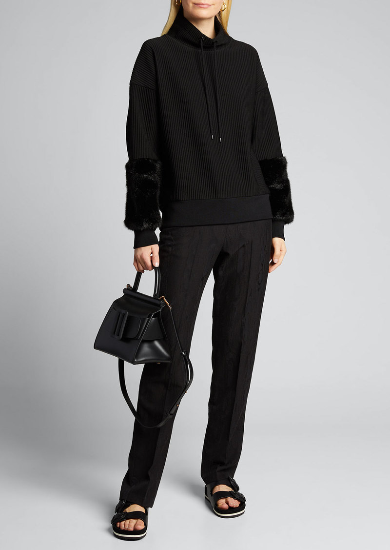 Elie Tahari Nixie Ribbed Knit Sweater w/ Fuzzy Cuffs
