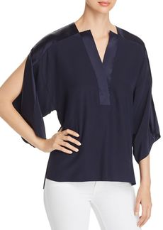 Elie Tahari Nolia Slit-Sleeve Silk Top