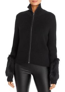 Elie Tahari Norah Fur-Trim Zip-Front Cardigan